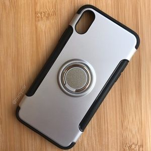 NEW Iphone X Silver Ring Finger Case